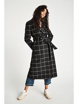 Jack Wills Blythe Long Checked Robe Coat - Black