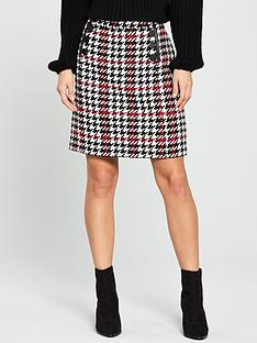 wallis-check-button-detail-skirt-red