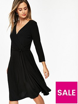 wallis-petite-wrap-jersey-dress-black