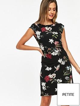 wallis-wallis-petite-bird-print-ruched-side-dress
