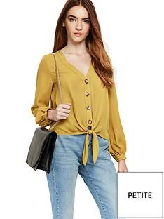 wallis-petite-button-tie-front-shirt-ochre