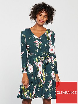 wallis-parrot-print-fit-amp-flare-dress-forest-greennbsp