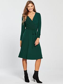 wallis-wrap-midi-dress-forest-green