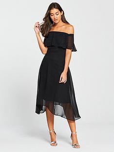 wallis-hotfix-bardot-dress-black