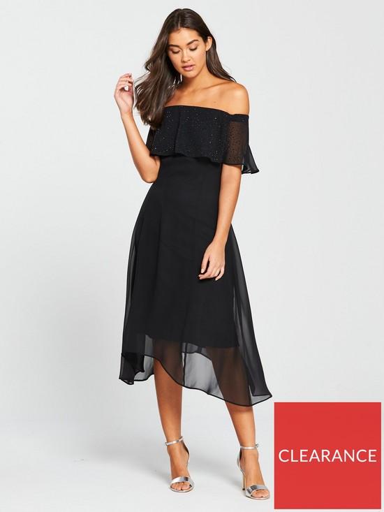 d7f0d768fba0 Wallis Hotfix Bardot Dress - Black   very.co.uk