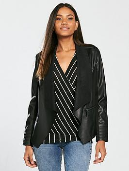 wallis-freya-waterfall-pu-jacket-black