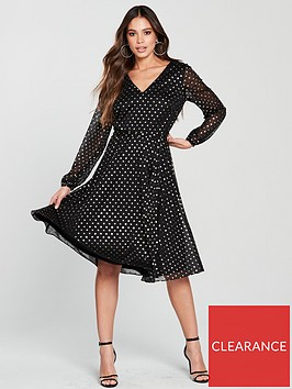 wallis-gold-foil-spot-midi-dress