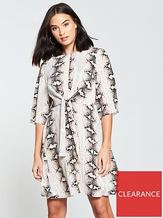 v-by-very-petite-twist-front-skater-dress-snake-print