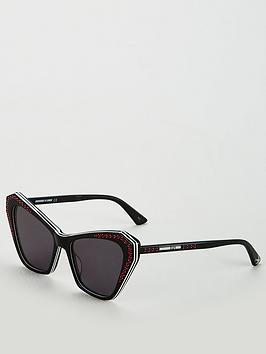 Mcq Alexander Mcqueen Oversized Cateye Gem Detail Sunglasses - Black