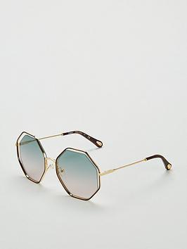 Chloe Chloe Hexagonal Havana/Green Rose Sunglasses