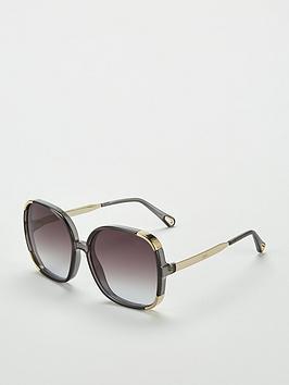 Chloe Oversized Dark Grey Sunglasses