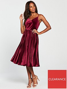 51711cbdf Ted Baker Khim Velvet Pleated Midi Dress - Oxblood