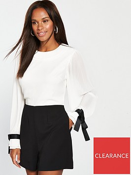 ted-baker-contrast-pleated-playsuit
