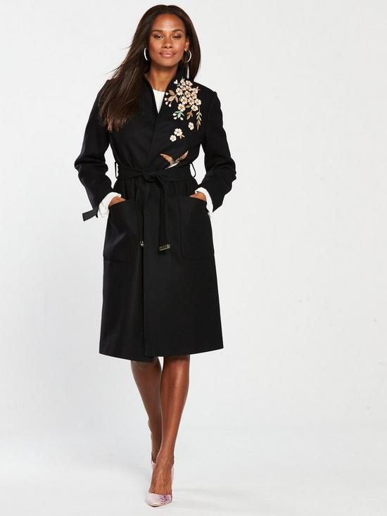 778a135df87af Ted Baker Fennela Graceful Embroidered Wool Coat - Black