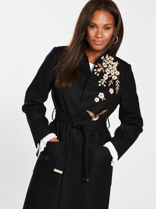 151b618f622 ... Ted Baker Fennela Graceful Embroidered Wool Coat - Black. View larger