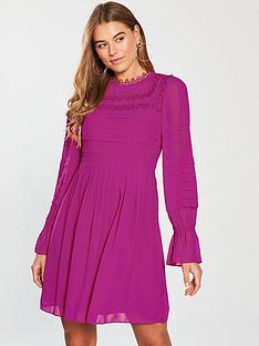 ted-baker-arrebel-lace-trim-volume-sleeve-dress-bright-pinknbsp