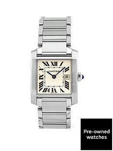 cartier-pre-owned-midsize-tank-francaise-off-white-dial-stainless-steel-bracelet-watch-w51011q3