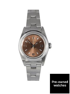 rolex-pre-owned-oyster-perpetual-salmon-dial-stainless-steel-bracelet-ladies-watch-76080