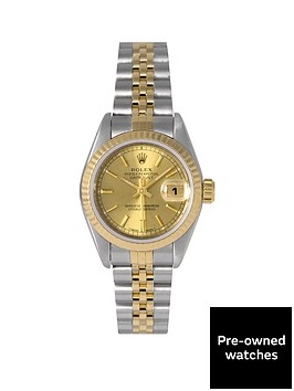 rolex-pre-owned-datejust-original-champagne-baton-dial-two-tone-stainless-steel-bracelet-ladies-watch-69173