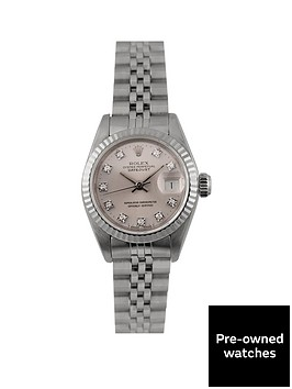 rolex-pre-owned-datejust-original-silver-and-diamond-dial-stainless-steel-bracelet-ladies-watch-69174