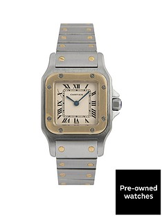 cartier-cartier-pre-owned-santos-quartz-off-white-dial-two-tone-stainless-steel-bracelet-ladies-watch-166930