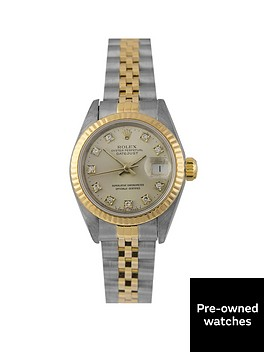 rolex-pre-owned-datejust-original-silver-and-diamond-dial-two-tone-stainless-steel-bracelet-ladies-watch-69173