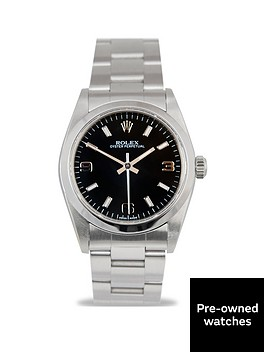 rolex-pre-owned-midsize-oyster-perpetual-black-3-6-9-dial-stainless-steel-bracelet-watch-77080