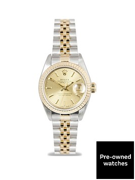rolex-pre-owned-datejust-original-champagne-baton-dial-two-tone-stainless-steel-bracelet-ladies-watch-with-original-rolex-paperwork-69173