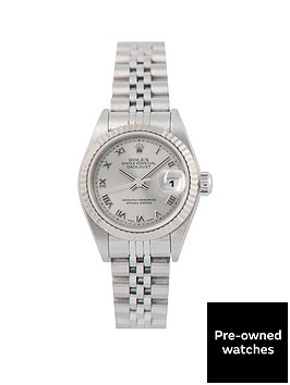 rolex-pre-owned-datejust-silver-roman-numberal-dial-stainless-steel-bracelet-ladies-watch-79174