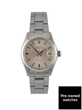 rolex-pre-owned-midsize-oysterdate-silver-dial-stainless-steel-bracelet-watch-6466