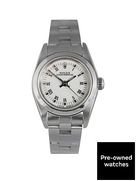 rolex-pre-owned-oyster-perpetual-white-dial-stainless-steel-bracelet-ladies-watch-76080