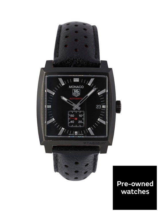 651460fd8a1a TAG Heuer Tag Heuer Pre-Owned Monaco Automatic Black Dial PVD Stainless  Steel Bracelet Mens Watch WW2119
