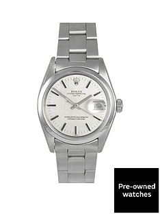 rolex-pre-owned-oyster-perpetual-date-silver-linen-baton-dial-stainless-steel-bracelet-mens-watch-1500