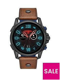 diesel-diesel-full-guard-25-display-brown-leather-strap-mens-smart-watch