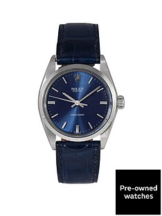rolex-pre-owned-oyster-precision-blue-dial-stainless-steel-bracelet-mens-watch-6426