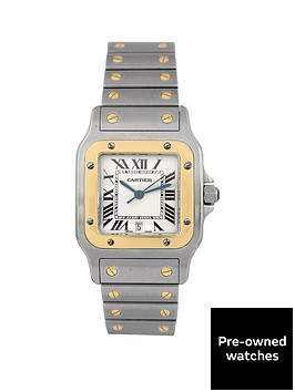 cartier-cartier-pre-owned-santos-quartz-off-white-dial-two-tone-stainless-steel-bracelet-mens-watch-1566
