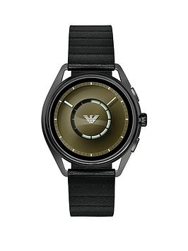 emporio-armani-full-display-olive-green-dial-black-leather-strap-mens-smart-watch
