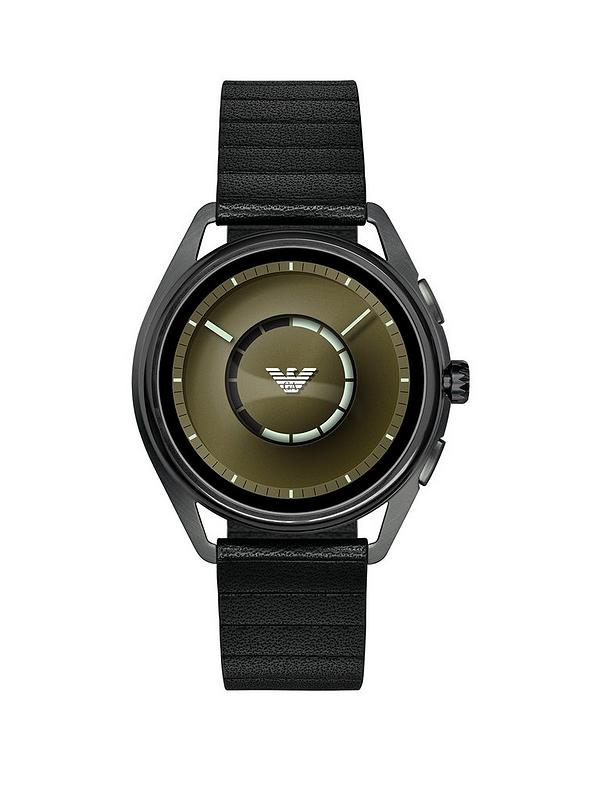 b7e5f9580 Emporio Armani Full Display Olive Green Dial Black Leather Strap Mens Smart  Watch