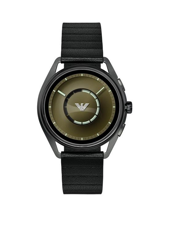 5b6ee41387dcb8 Emporio Armani Full Display Olive Green Dial Black Leather Strap Mens Smart  Watch | very.co.uk