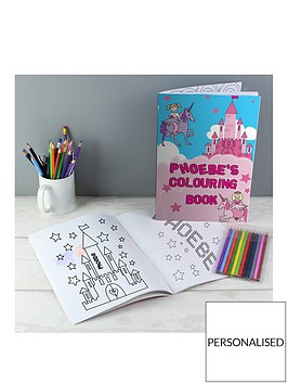personalised-unicorn-colouring-book-and-pencils