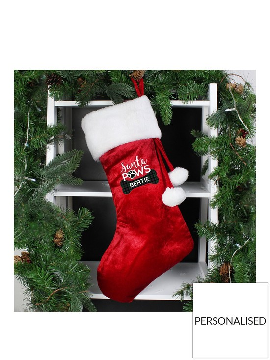 0bd12161f36 Personalised Santa Paws Christmas Dog Stocking