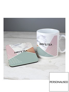 personalised-geometric-mug-and-coaster-set