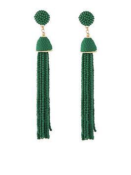 accessorize-beaded-tassel-earrings-green