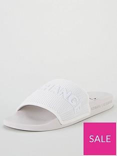 armani-exchange-mesh-band-slider-off-white