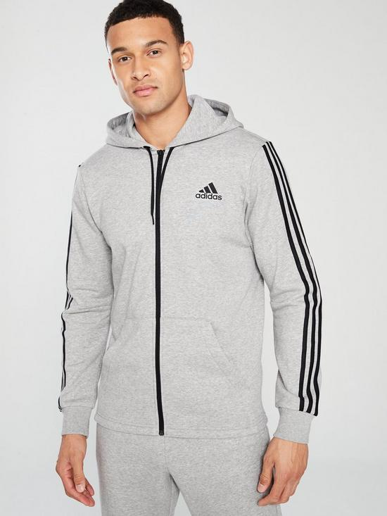 newest 54ceb 93c31 adidas 3S Full Zip Hoodie - Medium Grey Heather   very.co.uk