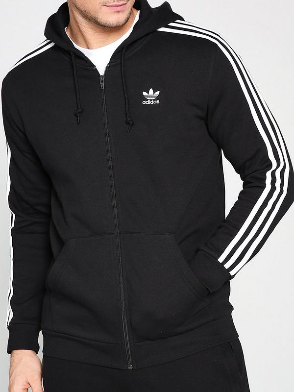 Enmarañarse Frank Worthley bibliotecario  adidas Originals 3 Stripe Full Zip Hoodie - Black | very.co.uk