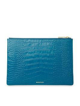 whistles-shiny-leather-crocodile-design-medium-clutch-blue