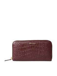 whistles-shiny-leather-croc-design-long-pursenbsp--plum