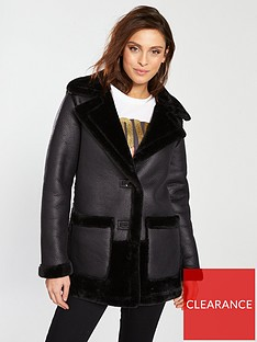 b6532768f1 River Island River Island Faux Fur Reversible Car Coat- Black