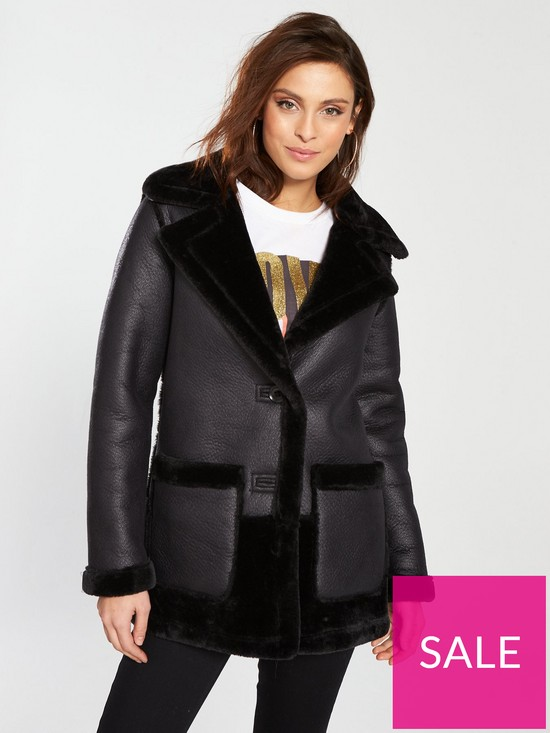 0c99623d3f5d2 River Island River Island Faux Fur Reversible Car Coat- Black | very ...